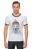 """Футболка """"Рингер"""" (Мужская) """"Лев в шапке"""" - лев, lion, царь зверей"""