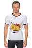"Футболка ""Рингер"" (Мужская) ""Fat Pikachu"" - pokemon, покемон, пикачу, обжорство"