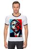 """Футболка """"Рингер"""" (Мужская) """"Обама"""" - usa, обама, сша, президент, власть, obama"""