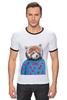 """Футболка """"Рингер"""" (Мужская) """"Красная панда"""" - арт, red, девушке, panda, animal, красная панда, dressed"""