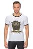 """Футболка Рингер """"Сычик"""" - цветы, хищник, глаза, дикий, птица, дети, птицы, природа, сова, животное"""
