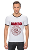 "Футболка Рингер ""Rambo"" - боевик, рэмбо, сильвестр сталлоне, rambo, sylvester stallone"