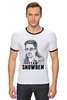 "Футболка ""Рингер"" (Мужская) ""Edward Snowden"" - америка, россия, цру, edward snowden, эдвард сноуден"