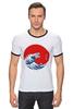 """Футболка """"Рингер"""" (Мужская) """"Годзилла из волны"""" - япония, japan, ocean, годзилла, godzilla"""