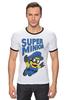 "Футболка ""Рингер"" (Мужская) ""Super Minion"" - миньон, minion"