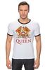 "Футболка ""Рингер"" (Мужская) ""Queen group"" - queen, фредди меркьюри, freddie mercury, куин, rock music"