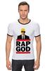 """Футболка """"Рингер"""" (Мужская) """"Эминем, Бог Рэпа """" - eminem, эминем, бог рэпа, rap god"""