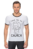 "Футболка ""Рингер"" (Мужская) ""Нед Фландерс (Симпсоны)"" - симпсоны, the simpsons, take me to church, возьми меня в церковь"
