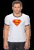 "Футболка ""Рингер"" (Мужская) ""Супермен"" - comics, супермен, superman"