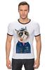 "Футболка ""Рингер"" (Мужская) ""kitty"" - cat, котэ, трубка, hipster, sailor, моряк"