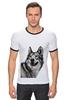 """Футболка """"Рингер"""" (Мужская) """"Добродушный волк"""" - хищник, animal, волк, wolf"""