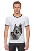 "Футболка Рингер ""Добродушный волк"" - хищник, animal, волк, wolf"