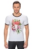 "Футболка Рингер ""Flower skull"" - skull, череп, цветы, листья"