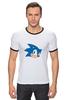 "Футболка ""Рингер"" (Мужская) ""Sonic hedgehog head"" - nintendo, sonic, sega, сега, соник ёж, ёжик соник, video games"