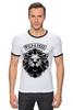 """Футболка """"Рингер"""" (Мужская) """"WILD & FREE"""" - кредо, wild, лев, lion, девиз"""