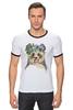 """Футболка """"Рингер"""" (Мужская) """"Панда в венке"""" - цветы, панда, природа, panda, акварель"""