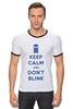 """Футболка Рингер """"Keep Calm and Don't Blink (Tardis)"""" - сериал, doctor who, tardis, доктор кто, машина времени, телефонная будка, time machine, police box, phone box"""