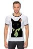 """Футболка """"Рингер"""" (Мужская) """"Деловой кот"""" - кот, мем, cat, mem, black cat, деловой кот, business cat, suit n tie"""
