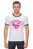 "Футболка ""Рингер"" (Мужская) ""Супермама (Supermom)"" - супер, super, мама, mom, supermom"