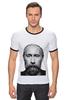 """Футболка """"Рингер"""" (Мужская) """"Путин с бородой"""" - путин, борода, putin"""