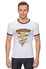 "Футболка ""Рингер"" (Мужская) ""Пицца Навсегда (Pizza Forever)"" - пицца, pizza"