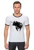 """Футболка """"Рингер"""" (Мужская) """"Черный Бык"""" - животные, black, бык, bull"""