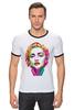 """Футболка """"Рингер"""" (Мужская) """"Мадонна (Madonna)"""" - madonna, мадонна, полигоны, polygons"""