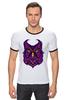 """Футболка """"Рингер"""" (Мужская) """"Ночная Сова (Owl)"""" - сова, owl"""