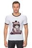 """Футболка Рингер """"Котик НЕТ"""" - кошка, grumpy cat, сердитый котик, соус тардар"""