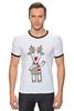 """Футболка """"Рингер"""" (Мужская) """"Новогодняя фуфайка"""" - красивая, new year, white and snow-white, сказочная, christmas, reindeer"""