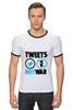 "Футболка ""Рингер"" (Мужская) ""Tweets Not War"" - fun, social"