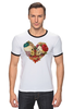 "Футболка ""Рингер"" (Мужская) ""Skull Art"" - skull, череп, сердце, heart, цветы"