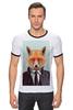 """Футболка """"Рингер"""" (Мужская) """"Деловой лис"""" - модно, стильно, лис, fox, лиса"""