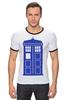"Футболка Рингер ""Tardis (Тардис)"" - сериал, doctor who, доктор кто, машина времени, телефонная будка"