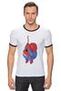 """Футболка """"Рингер"""" (Мужская) """"Fat Spiderman"""" - spider-man, человек-паук, обжорство, спайдермен"""