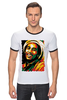 "Футболка ""Рингер"" (Мужская) ""Боб Марлей (Bob Marley)"" - регги, боб марли, bob marley, reggae, ska, jamaica"