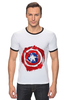 "Футболка ""Рингер"" (Мужская) ""Captain America "" - капитан америка, captain america"