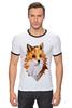 """Футболка """"Рингер"""" (Мужская) """"Poly Fox"""" - fox, лиса, лисица, полигоны"""