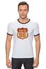 "Футболка ""Рингер"" (Мужская) ""Route 66"" - арт, авторские майки, америка, usa, дорога, road, сша, путешествие, los angeles, california"