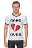 """Футболка """"Рингер"""" (Мужская) """"Game Over (Игра Окончена)"""" - пиксель арт, 8 бит, 8-bit, расставание, разбитое сердце"""
