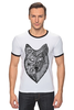 "Футболка ""Рингер"" (Мужская) ""волк (wolf)"" - графика, волк, wolf, дотворк"