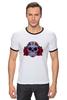 """Футболка Рингер """"Мексиканский череп"""" - череп, цветы, крест, тату, мексика"""