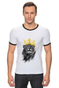 """Футболка """"Рингер"""" (Мужская) """"Король Лев"""" - животные, корона, лев, царь зверей"""