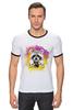 """Футболка Рингер """"Радужный енот"""" - арт, радуга, rainbow, иллюстрация, енот, racoon"""