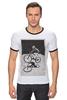 """Футболка """"Рингер"""" (Мужская) """"девушка на велосипеде"""" - спорт, bmx, велосипед, street, bike, стрит, biking, велоспорт, девушка на велосипеде, дерт"""