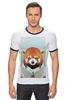 """Футболка """"Рингер"""" (Мужская) """"Деловая панда"""" - стиль, панда, red panda, деловая, выдра"""