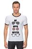 "Футболка Рингер ""HipHipiHipster"" - очки, хипстер, hippie, хиппи, hip, hipster"