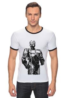"Футболка ""Рингер"" (Мужская) ""Robocop (Робокоп)"" - робокоп, robocop"