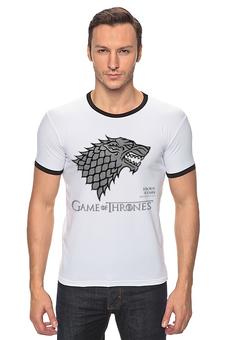 """Футболка Рингер """"Game of Thrones"""" - сериал, got, игра престолов, winter is coming, game of thrones, serials"""