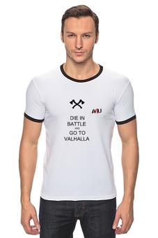 """Футболка Рингер """"die in battle and go to valhalla 2"""" - valhalla"""